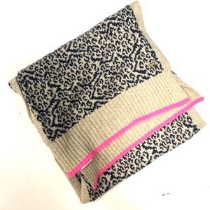 JUICY COUTURE Animal Print Scarf w/ Hot Pink Trim